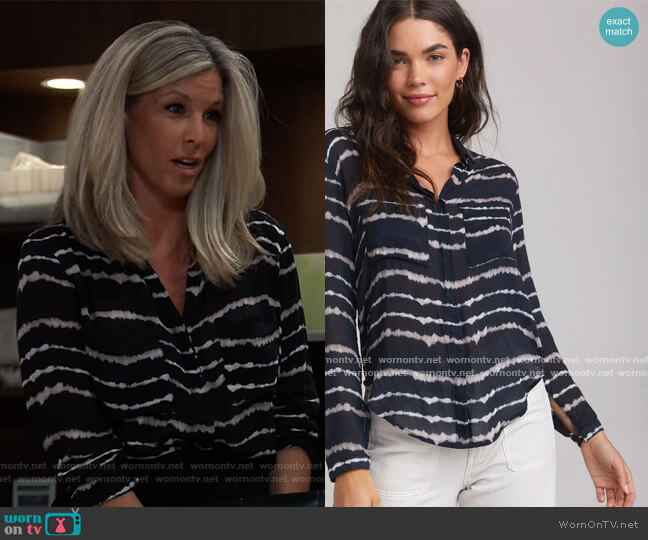 Hipster Shirt in Tie Dye Stripe  by Bella Dahl worn by Carly Corinthos (Laura Wright) on General Hospital