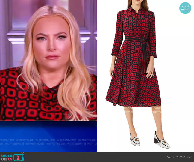 Alex Geo Print Midi Shirt Dress by Hobbs London worn by Meghan McCain  on The View