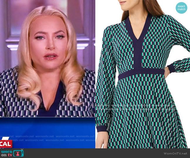 Samara Geo Print Jersey Fit & Flare Dress by Hobbs London worn by Meghan McCain  on The View