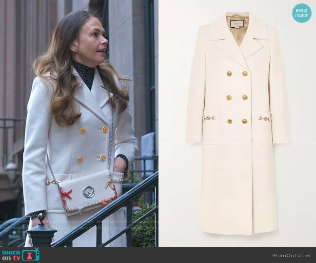 Horsebit-Detailed Double-Breasted Coat by Gucci worn by Liza Miller (Sutton Foster) on Younger
