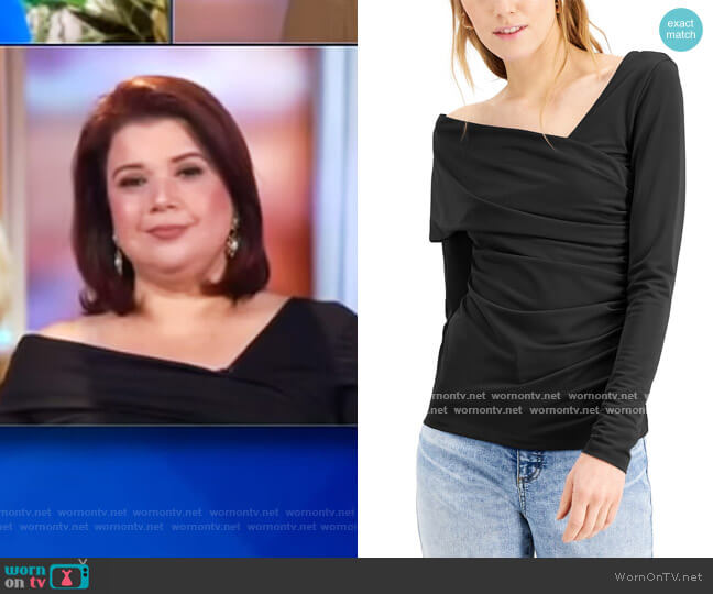 INC Asymmetrical Ruched Top by INC International Concepts worn by Ana Navarro  on The View