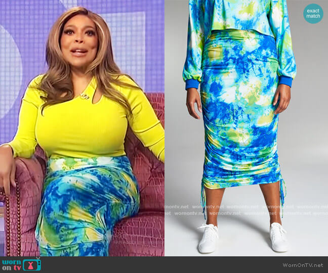 Misa Hylton for INC Printed High-Rise Ruched Skirt INC International Concepts worn by Wendy Williams  on The Wendy Williams Show