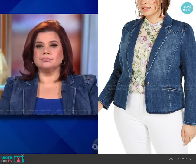 Plus Size Puff-Sleeve Denim Blazer by INC International Concepts worn by Ana Navarro  on The View
