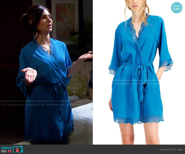 Lace Trim Short Robe by INC International Concepts worn by Gabi Hernandez (Camila Banus) on Days of our Lives
