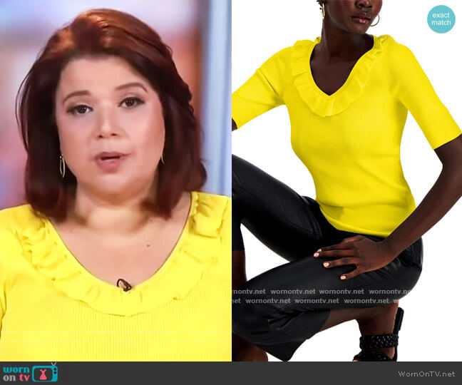 INC Ruffled Ribbed Sweater by INC International Concepts worn by Ana Navarro  on The View