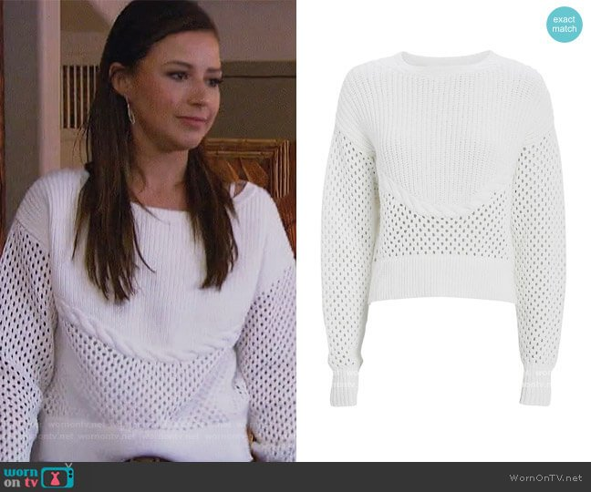 Claudine Open Knit Sweater by Intermix worn by Katie Thurston  on The Bachelorette