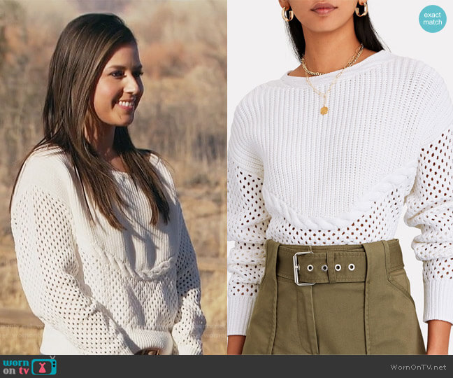 Claudine Open Knit Sweater Intermix worn by Katie Thurston  on The Bachelorette