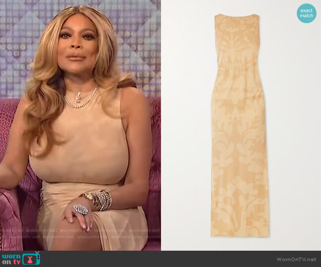 Carrie ruched printed stretch-jersey maxi dress by Ioannes worn by Wendy Williams  on The Wendy Williams Show