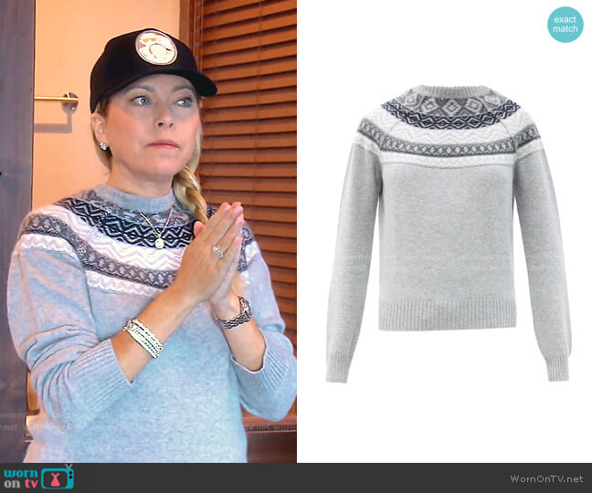 Lucia Fair Isle-Jacquard Cashmere Sweater by Johnstons of Elgin worn by Sutton Stracke  on The Real Housewives of Beverly Hills