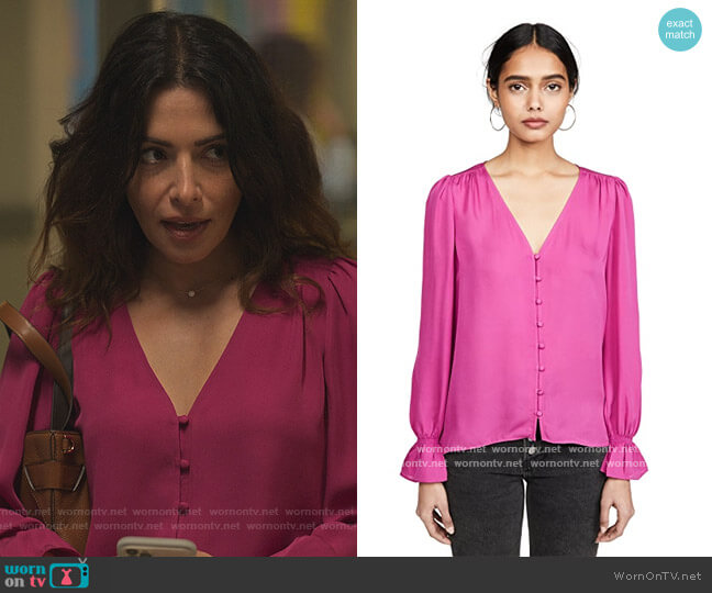 Bolona Blouse by Joie worn by Billie Connelly (Sara Shari) on Sex/Life
