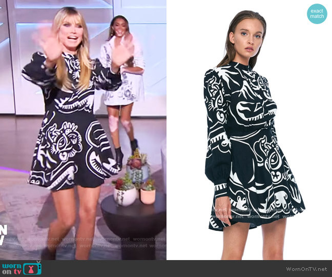 Puff Sleeve Mini Dress by Jonny Cota worn by Heidi Klum on The Talk