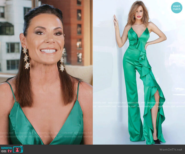 3012 Ruffled Plunging V-neck Jumpsuit by Jovani worn by Luann de Lesseps  on The Real Housewives of New York City