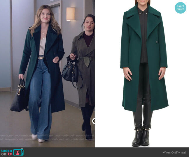Paris Belted Coat by Karl Lagerfeld worn by Sutton (Meghann Fahy) on The Bold Type
