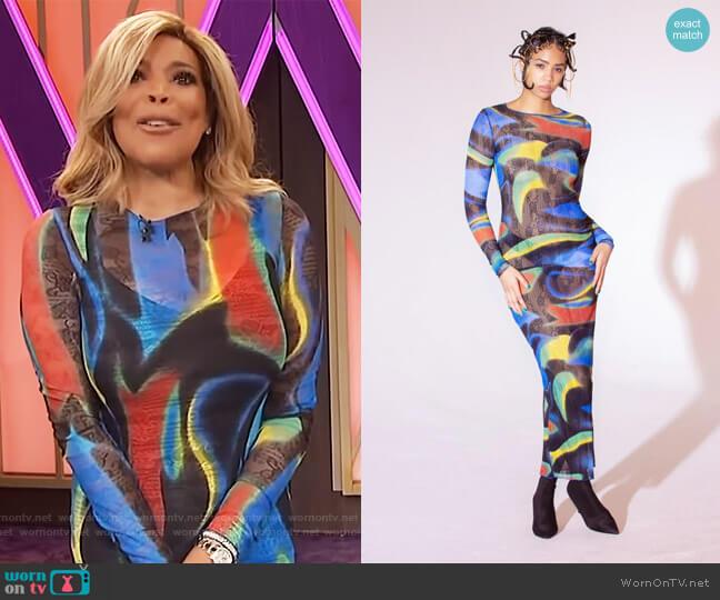 Blue Swirl Maxi Dress by Kim Shui worn by Wendy Williams  on The Wendy Williams Show