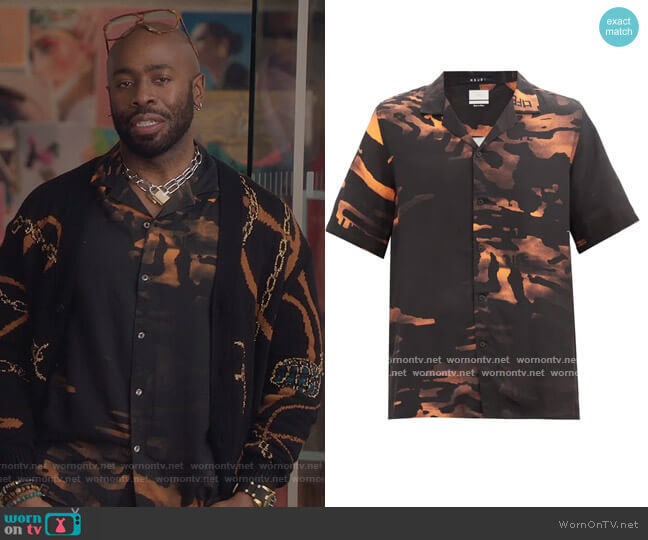 Life camouflage-print crepe shirt by Ksubi worn by Stephen Conrad Moore on The Bold Type