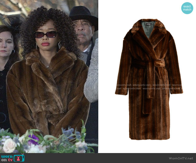 Belted Faux Fur Coat by Kwaidan Editions worn by Monica Colby (Wakeema Hollis) on Dynasty