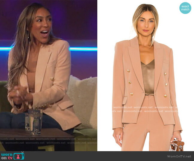 Kenzie Double Breasted Blazer by L'Agence worn by Tayshia Adams  on The Bachelorette