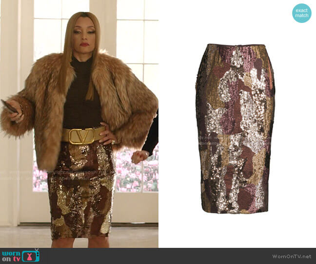 Casey Sequin Pencil Skirt by Lafayette 148 New York worn by Dominique Deveraux (Michael Michele) on Dynasty