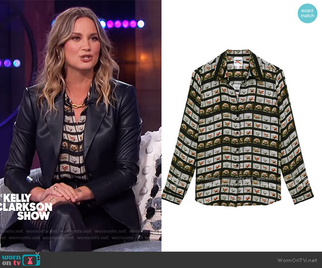 Nina Film Roll Washed Silk Blouse by L'Agence worn by Jennifer Nettles on The Kelly Clarkson Show