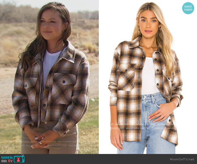 x REVOLVE Storm Plaid Shirt Jacket by Lamarque worn by Katie Thurston  on The Bachelorette