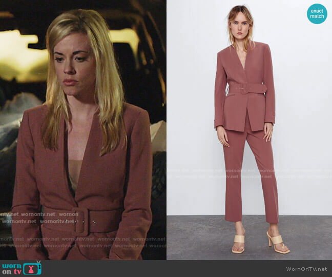 Lapelless Belted Blazer by Zara worn by Kelly Anne Van Awken (Molly Burnett) on Queen of the South