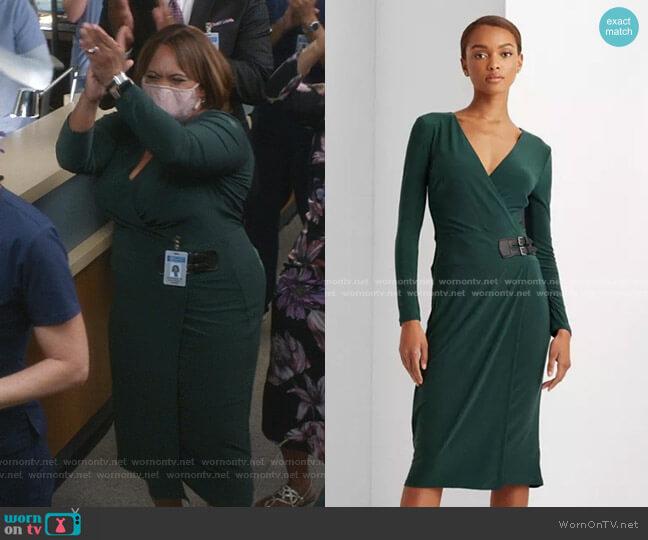 Buckled Jersey Dress by Lauren Ralph Lauren worn by Chandra Wilson on Greys Anatomy