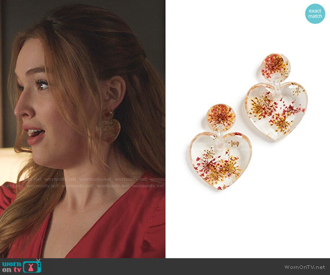 Dried Floral Heart Earrings by Lele Sadoughi  worn by Kirby Anders (Maddison Brown) on Dynasty
