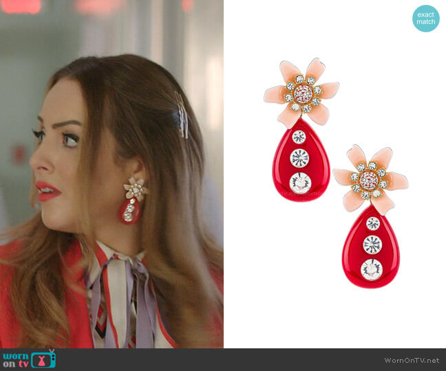 Flower Bulb Earrings by Lele Sadoughi worn by Fallon Carrington (Elizabeth Gillies) on Dynasty