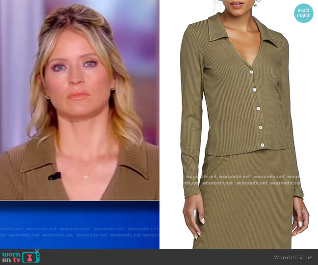 Ali Long-Sleeve Polo by Leset worn by Sara Haines  on The View