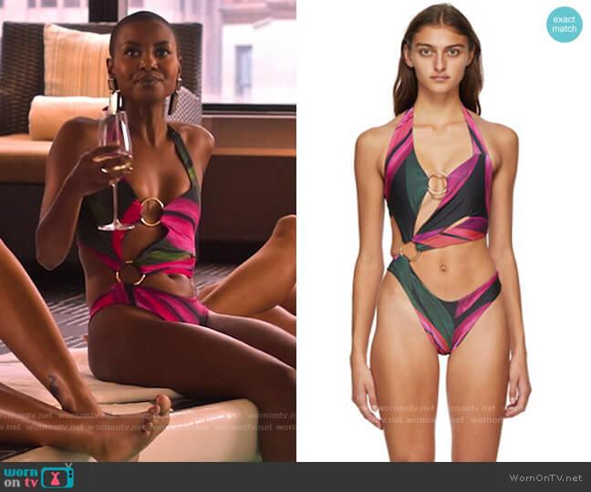 Louisa Ballou Pink Sex Wax Swimsuit worn by Ella McFair (Andrea Bordeaux) on Run the World