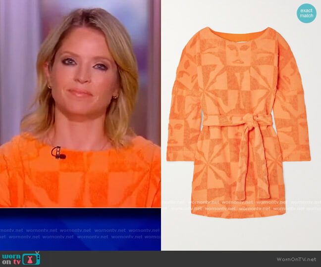 Sol belted cotton-terry mini dress by Lucy Folk worn by Sara Haines  on The View