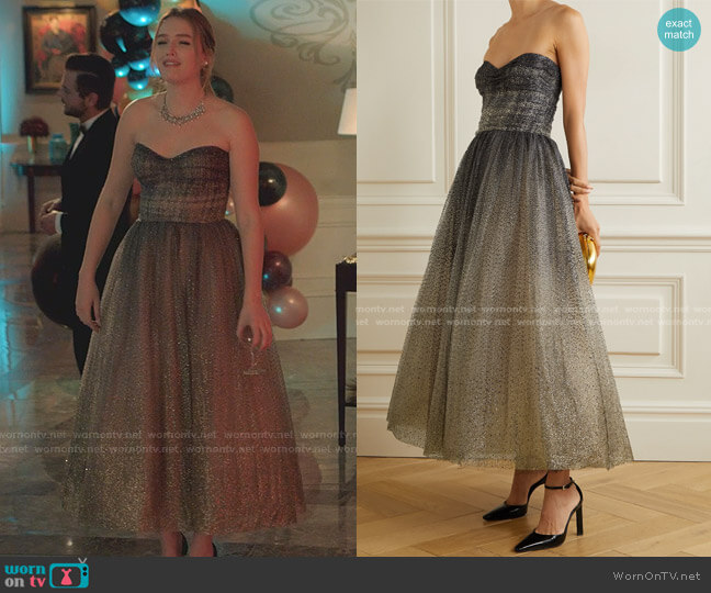 Brie Strapless Glittered Tulle Gown by Monique Lhuillier worn by Kirby Anders (Maddison Brown) on Dynasty