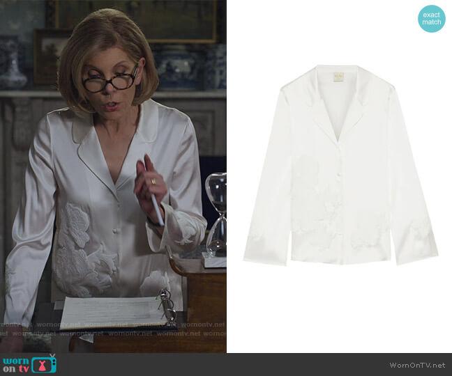Primrose Hill appliqued stretch-silk satin pajama shirt by Myla worn by Diane Lockhart (Christine Baranski) on The Good Fight