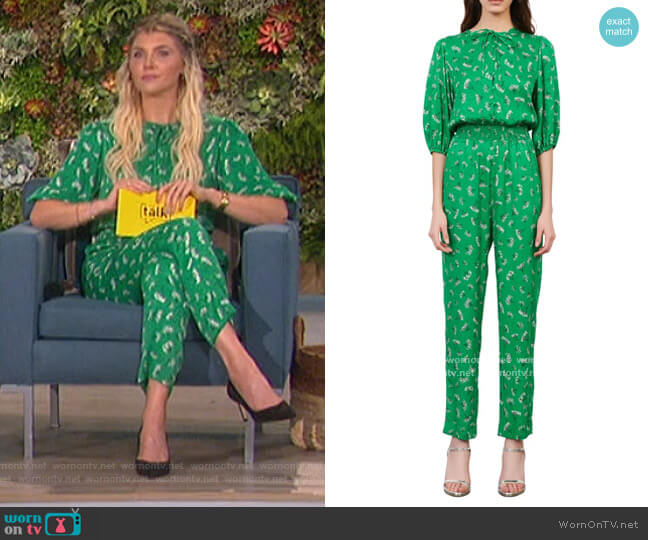 Floral Elbow-Sleeve Woven Jumpsuit by Maje worn by Amanda Kloots  on The Talk