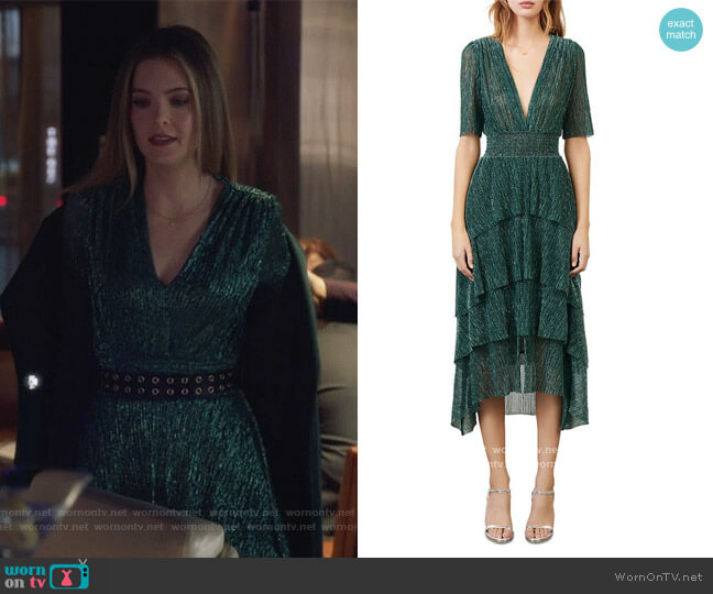 Stretch Lurex Fabric Dress with Ruffles by Maje worn by Sutton (Meghann Fahy) on The Bold Type