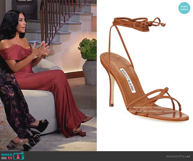Leva Metallic Strappy Ankle-Wrap Sandals by Manolo Blahnik worn by Kim Kardashian  on Keeping Up with the Kardashians