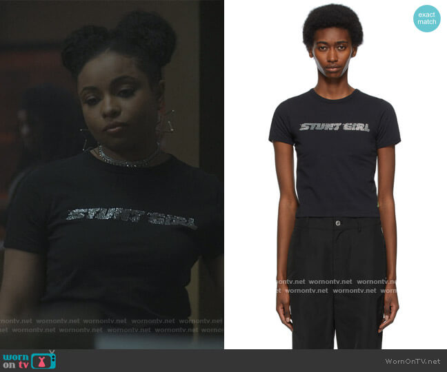 Black Heaven by Marc Jacobs 'Stunt Girl' Baby T-Shirt by Marc Jacobs worn by Hannaha Hall on The Chi