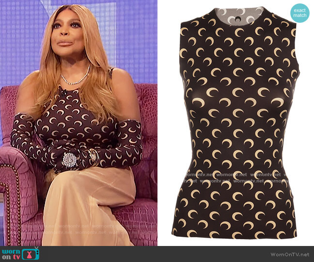 Marine Serre Crescent Moon Printed Tank Top by Marine Serre worn by Wendy Williams  on The Wendy Williams Show