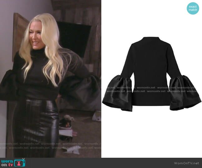Taffeta Trimmed Turtleneck Top by Marques' Almeida worn by Erika Girardi  on The Real Housewives of Beverly Hills