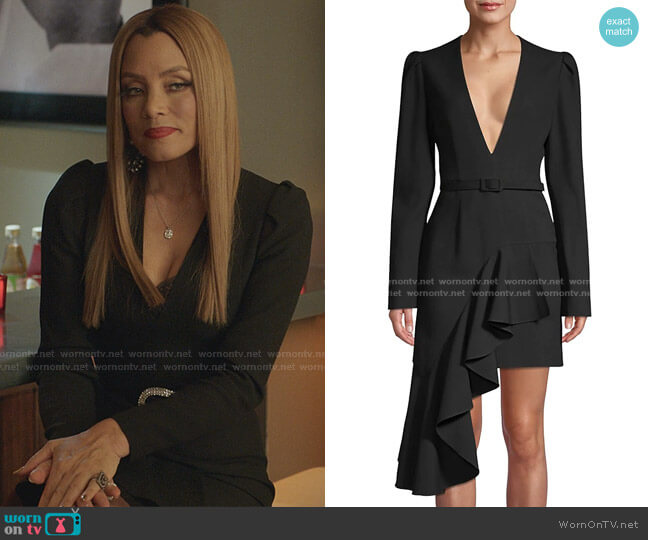 Asymmetric Ruffled Belted Mini A-Line Dress by Michael Kors worn by Dominique Deveraux (Michael Michele) on Dynasty