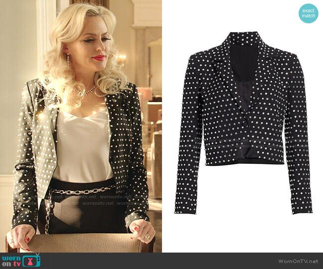 Crystal-embellished Cropped Blazer by Michelle Mason worn by Alexis Carrington (Elaine Hendrix) on Dynasty