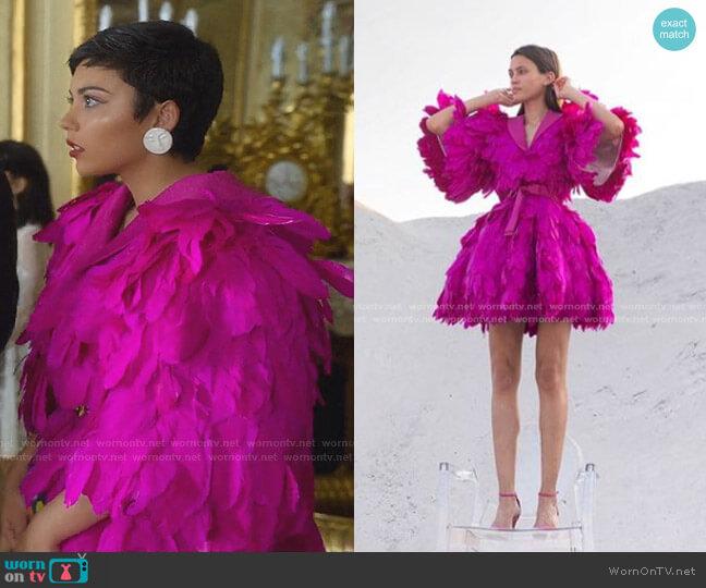 Feather Dress by Mihano Momosa worn by Ari Blanco (Carla Diaz) on Elite