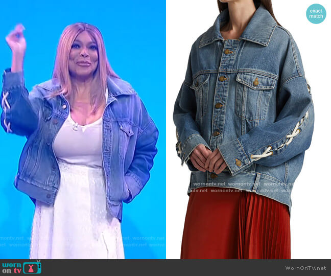 Lace-Up Denim Jacket by Monse worn by Wendy Williams  on The Wendy Williams Show