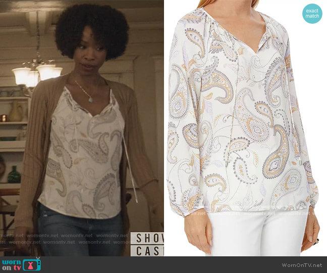 Printed Split Neck Top by NYDJ worn by Grace James (Karimah Westbrook) on All American