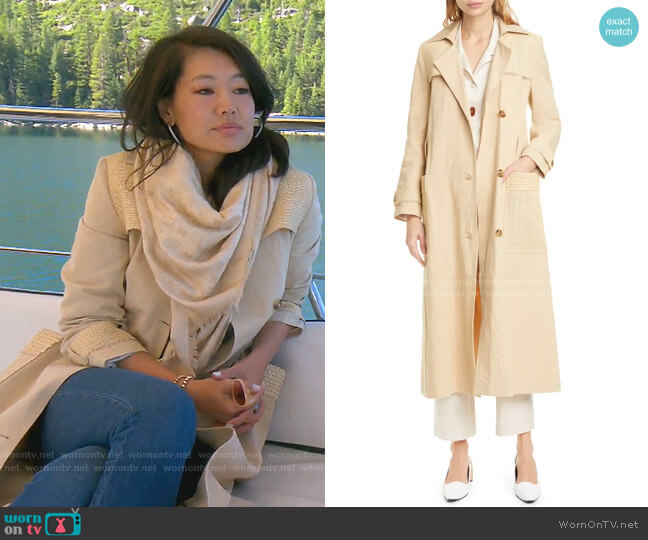 Alex Vegan Leather Trim Cotton & Linen Trench Coat by Nanushka worn by Crystal Kung Minkoff  on The Real Housewives of Beverly Hills