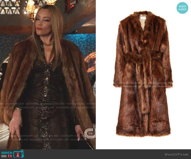 Faux-Fur Wrap Coat by Nanushka worn by Dominique Deveraux (Michael Michele) on Dynasty