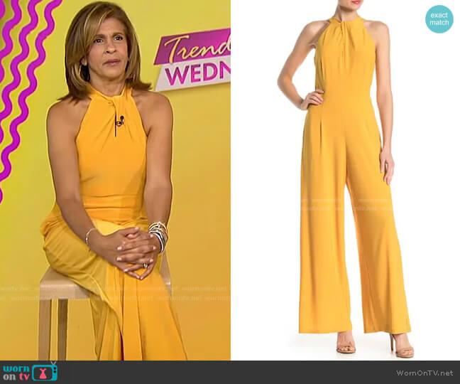 Twist Halter ITY Knit Jumpsuit by Nina Leonard worn by Hoda Kotb  on Today