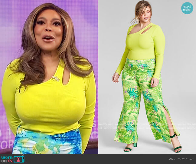 Trendy Plus Size Asymmetrical Cutout Bodysuit by Nina Parker worn by Wendy Williams  on The Wendy Williams Show