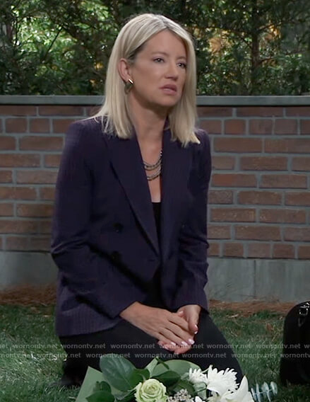 Nina's purple double breasted check blazer on General Hospital