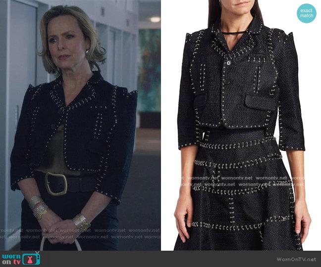 Chain-Stitch Herringbone Cropped Jacket by Noir Kei Ninomiya worn by Jacqueline (Melora Hardin) on The Bold Type